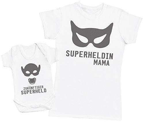 Zukunftiger Superheld & Superheldin Mama - Passende Mutter Baby Geschenk Set - Damen T-Shirt & Baby Strampler - Weiß - M & 62 (3-6 Monate) (Superhelden Onesies Für Babys)