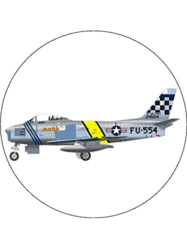 7.5 Inch F86 F Sabre Korean War Jet Fighter Birthday Cake Toppers Decorations On Edible Rice Paper