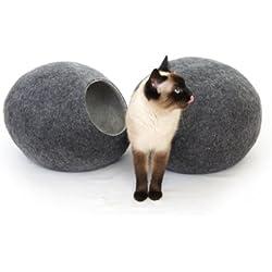 kivikis Lit/Maison/Grotte pour chatFait à la Main.Feutré.Laine de Mouton Naturelle et écologique.Taille L (Gris foncé).