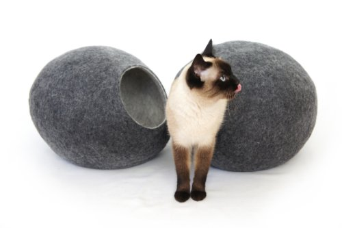 kivikis Katzenhaus/Bett/Betthöhle, handgefertigt aus natürlichen, ökologischen Wolle (Extra-large, XL for 8-12 kg (17-26 pounds) cat, Dark Gray) -