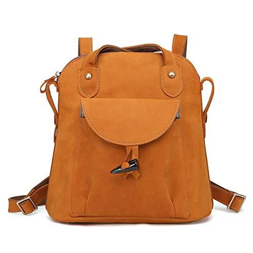 Yoome Vintage Crazy-Horse Leder Rucksack Geldbörse Große Kapazität Damen Schulter Handtasche gelblich-braun Crazy Leder