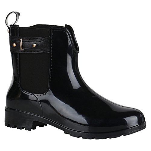 Damen Gummistiefel Profil Sohle Stiefel Regen Schuhe 144461 Schwarz Schnallen 38 EU | Flandell® (Kurz-stiefel)