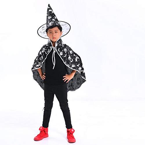 Ears Kinder Halloween Party Outfits Sets 6 Stück Kinder Erwachsene Kinder Halloween Baby Kostüm Zauberer Hexe Mantel Cape Robe + Hut Set Kinder Halloween Leistung Kostüm + ()