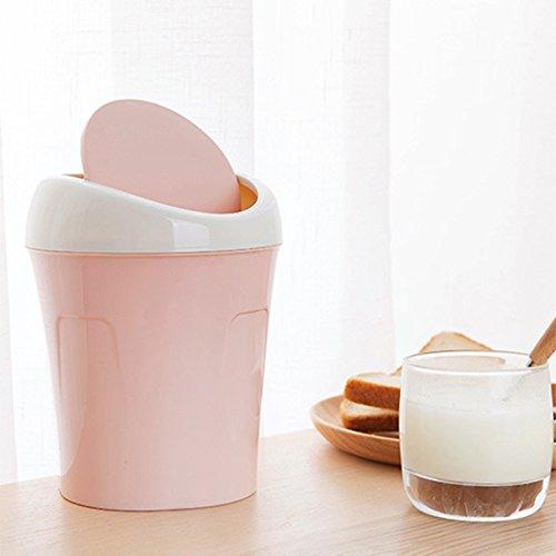 Niocase Abfalleimer, Desktop Mülleimer Mülleimer Mini Papierkorb Aufbewahrungsbox Kunststoffbehälter für Office Home Küche Schlafzimmer, Rosa