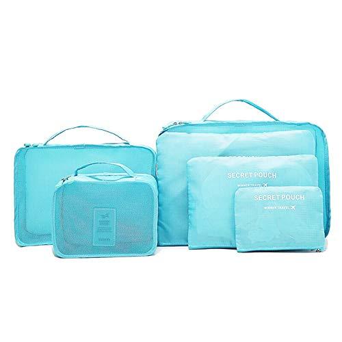 Ensemble de 6 Organisateurs de Voyage,Organisateur Valise Sacs de Rangement Cube, 6 Pcs Organisateur de Bagage pour Vacances Camping Séjour,3 Cubes d'emballage + 3 Pochettes-Bleu Vif