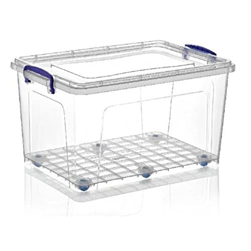 2 X Large 42 Litre Heavy Duty Clear Plastic Storage Box Stackable Boxes  Container With Locking Clip Lid U0026 Wheels