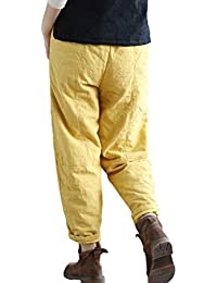 FAMILIZO Pantalones Mujer Cintura Alta Tallas Grandes Verano Cómodos Elásticos  Mujeres Vintage Retro Harem Pantalones Algodón Lino… 24c75631eb61