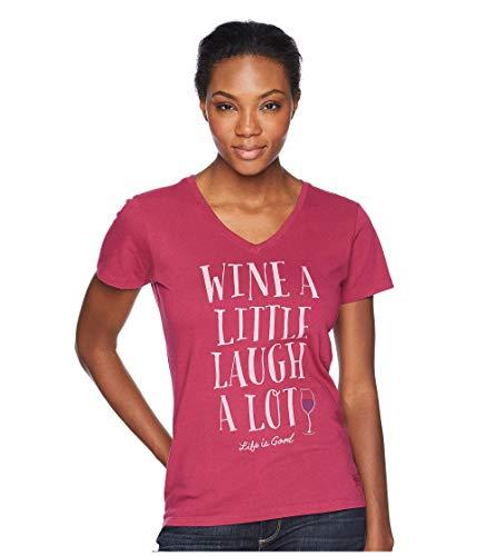 Life Is Good Damen T-Shirt mit V-Ausschnitt, Weinrot, Damen, Crusher Vee Laugh A Lot, Xs, Wildkirsche, X-Small
