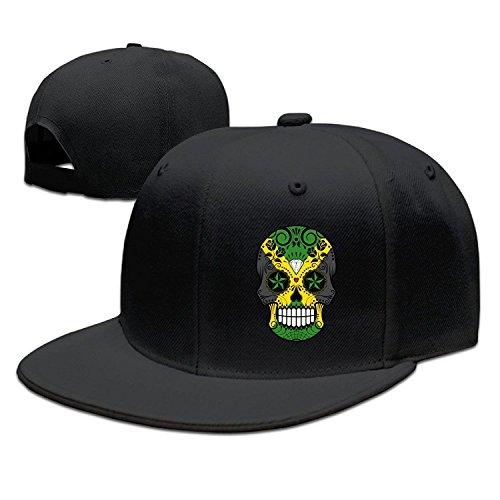 Jamaican Flag Sugar Skull Flat Brim Adjustable Snapback Hats Baseball (Jamaican Hüte)