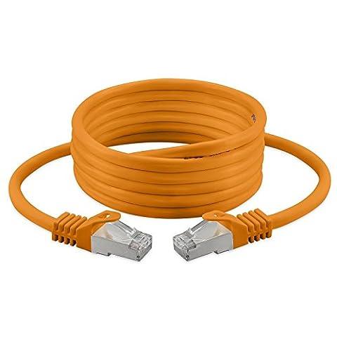 7.5M - Cat. 7 - Ethernet Gigabit Lan Network Cable (RJ45) | 10/100/1000Mbit/s - For Streaming | SUHD Tv | IPTV | Desktop Pc | Servers | Laptops | Network Printers, Halogen Free / 10 Gbs / High Quality | ( Orange