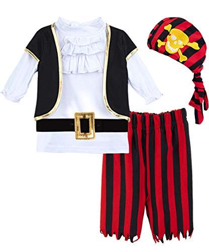 Jungen Pirat Kostüme Set (Rot, 4 Jahre) ()