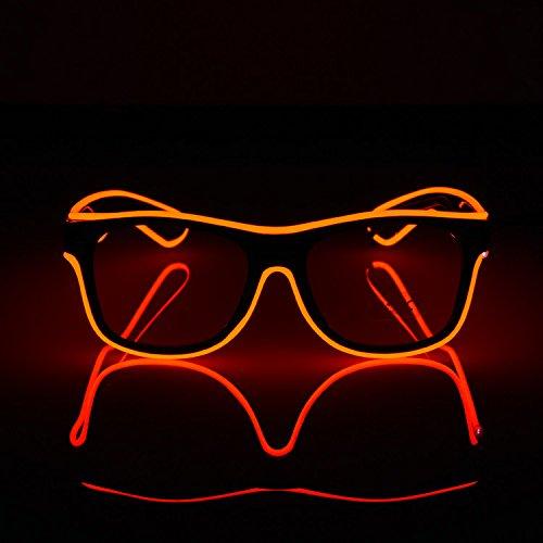 Neon el Draht führte Licht blinkende Gläser Kunststoff Party Bevorzugung Eyewear Neuheit leuchtende Festival Brillen für Weihnachten Halloween Karneval Kostüm Party Tanz (Tanz Home Kostüme)