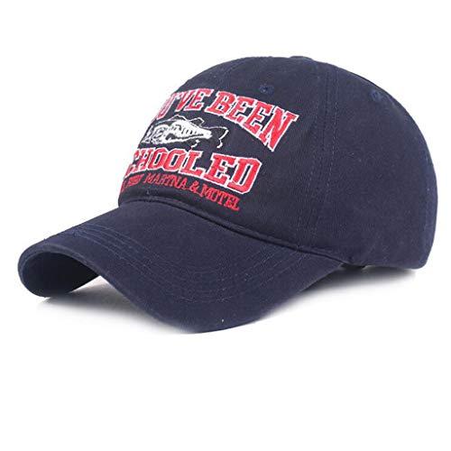 Unisex Männer Frauen Baseball Stickerei Atmungsaktiv Mode Caps  Einzigartiges Design Flat Top Dad Cap Kappe Sonnenhut Einstellbar Baumwolle Hip Hop Sommer Strand Hut (Marine)