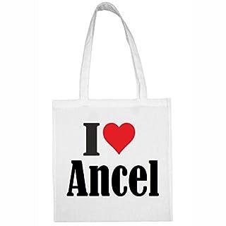 Tasche I Love Ancel Größe 38x42 Farbe Weiss Druck Schwarz