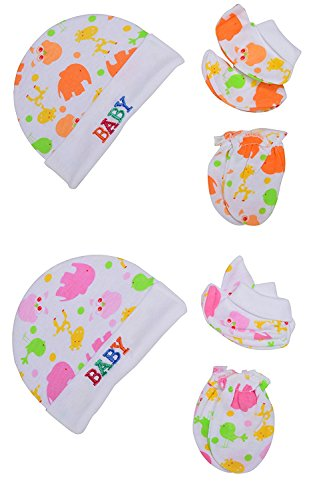 """Baby Bucket """"BABY"""" Premium Quality Light Weight Regular Fit Hosiery Material Stretchable Baby Cap Set (Orange & Pink)"""