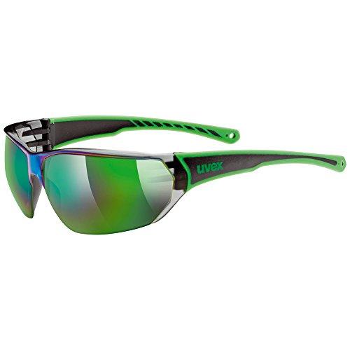 Uvex, Occhiali da sole sportivi SGL 204, Nero (Black/Green), Taglia unica
