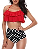 Yuson Girl Ruffle Bandeau Halter Bikini Donna Vita Alta, Costume da Bagno Bikini a Due Pezzi,Mare Bandage Push Up Top High Waisted Stampa Bottom