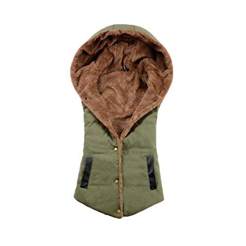 NiSeng Cappotti Donna Giubbotto Senza Maniche Bottoni Gilet con Cappuccio Giacca Invernali per Femminili Esercito Verde EU 42