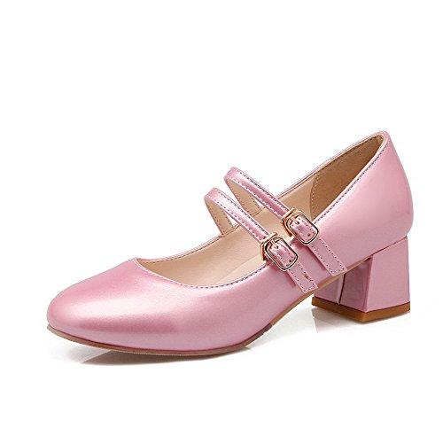 Redondo Rosa Toe Couro Bombas Pu Senhoras Sapatos Pura Médio Voguezone009 Fivela Salto qFw1618W