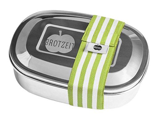 Brotzeit- Brotdose Lunchbox DUO Edelstahl mit Streifen Band und Fächern- Schulbeginn Schultüte, 16x11x4cm, Grün