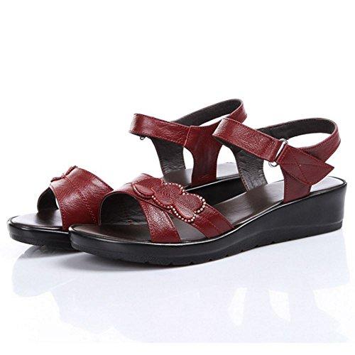 TAOFFEN Damen Gemutlich Slingback Open Toe Klettband Keilabsatz Sommer Sandalen 963 Rot