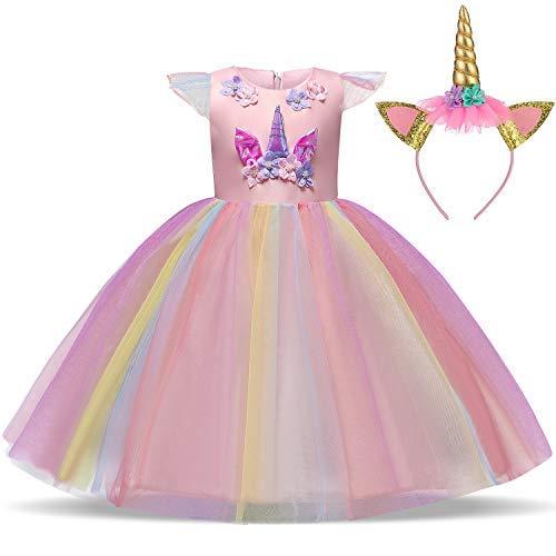 Kostüm Mädchen Blumen - TTYAOVO Mädchen Einhorn Phantasie Prinzessin Kleid Kinder Blume Pageant Party Kleid Ärmellose Rüschen Kleider Größe 7-8 Jahre Rosa