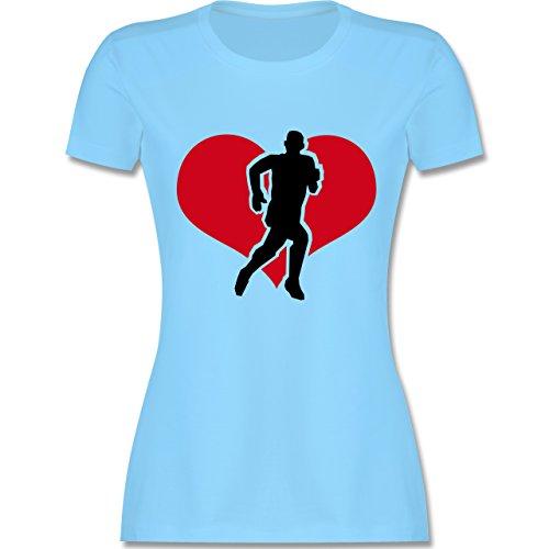 Laufsport - Running - tailliertes Premium T-Shirt mit Rundhalsausschnitt für Damen Hellblau