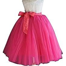 SaiDeng Faldas Tul De Fiesta Para Mujer Señora Faldas Plisada De Hilo De Moda Rose
