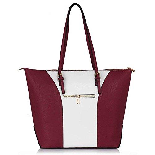 TrendStar Handtasche der Frauen faux Leder Damen Große Entwerfer-Taschen-Umhängetasche Burgund/Weiß
