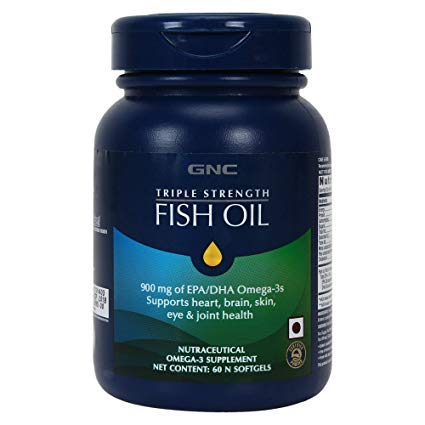 GNC Triple Strength Fish Oil Supports Heart, Brain, Skin, Eye & Joint Health (60 Softgels)