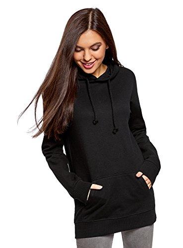 oodji Ultra Femme Hoodie en Coton sans Étiquette avec Poche Noir (2900N)