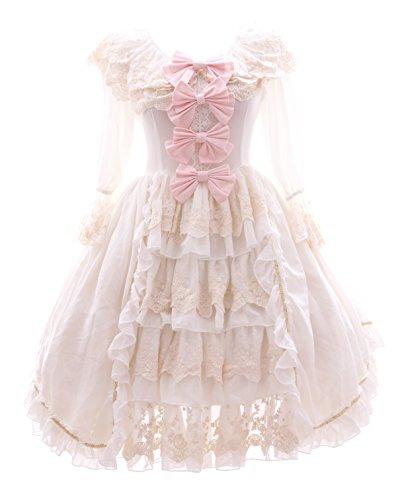 Kawaii-Story JL-645-2 weiß Rüschen Chiffon Kleid Rokoko Victorian Gothic Lolita Cosplay (Gr. S)