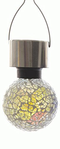 LED Solar Gartenleuchte Mosaik Glaskugel zum hängen Dämmerungssensor ca. 6 cm Durchmesser (Mix)