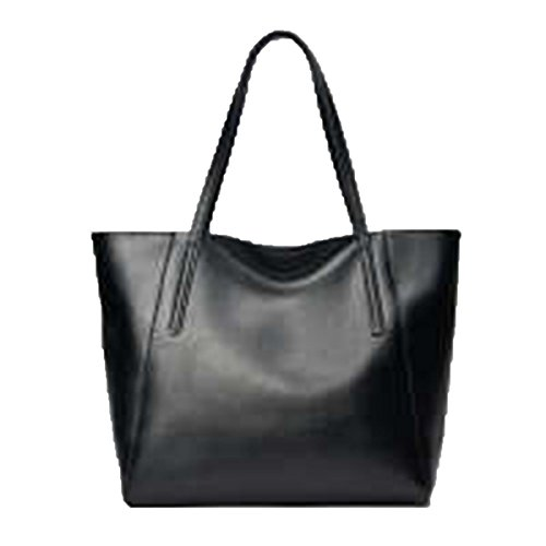 WU Zhi Lady In Pelle Big Bag Borsa A Tracolla Black