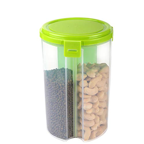 Chefstar Plastic Storage Container for Kitchen 3 Sections Air Tight Transparent Food, Grain, Cereal Dispenser Storage Container Jar,Storage containers,Masala Boxes,Pack of 1(Green)