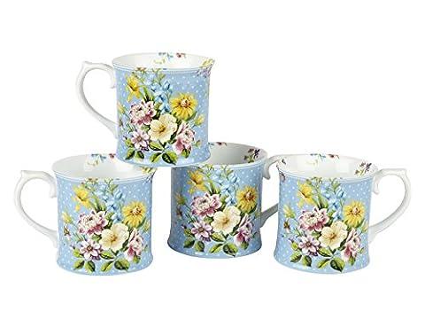 Set of 4 KATIE ALICE English Garden BLUE Shabby Chic PORCELAIN Tankard MUGS