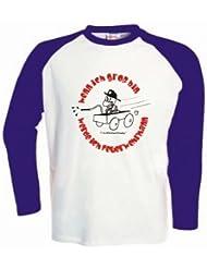 Kinder Baseball T-Shirt langarm Wenn ich groß bin, werde ich Feuerwehrmann / Größe 92 - 162