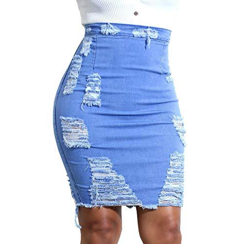 Beautyjourney Falda lápiz Mujer Ripped Jeans Falda