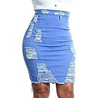 Mujer Falda lápiz de Rotos Jeans Falda Vaquera Ripped desgastada de la Cadera Mini Falda Bodycon De Cintura Alta hasta La Rodilla