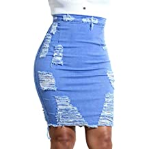 Faldas de Vaquera para Mujer,BBestseller Mujer Falda Corta Básica Agujero triturado Cadera Vintage Vestir