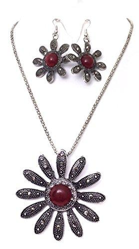 Rot Center Daisy Blume Hämatit Look Silber Ton Halskette Ohrringe Set -