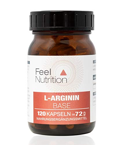 L-Arginin Base - IM GLAS, OHNE WEICHMACHER - Pro Kapsel 505 mg REINES L-Arginin - KEIN Hydrochlorid (HCL) - hochdosierte Base - Ohne Magnesiumstearat - 120 Kapseln - Deutsche Premiumqualität