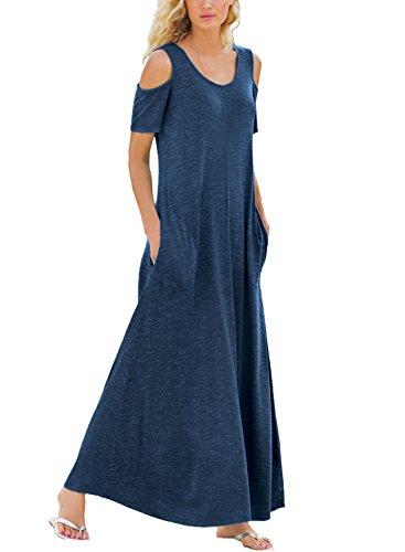 Dearlove Herbstkleid Bodenlang Kleid Schulterfrei Maxikleid Rundkragen Kurzarm Lose Tunikakleid Elegant Lässig Große Größen für Mollige Blau S