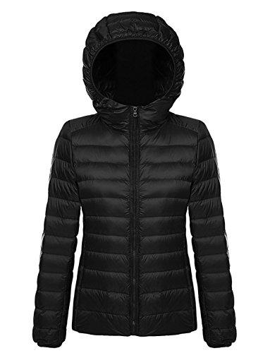 Damen Daunenjacke Steppjacke Übergangsjacke zusammenklappbar leicht Winter Warm Jacke mit Kapuze,Schwarz,XL