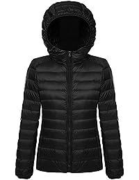 6e5f257ddca0 Belloo Damen Daunenjacke Steppjacke Übergangsjacke zusammenklappbar leicht  Winter Warm Jacke mit Kapuze
