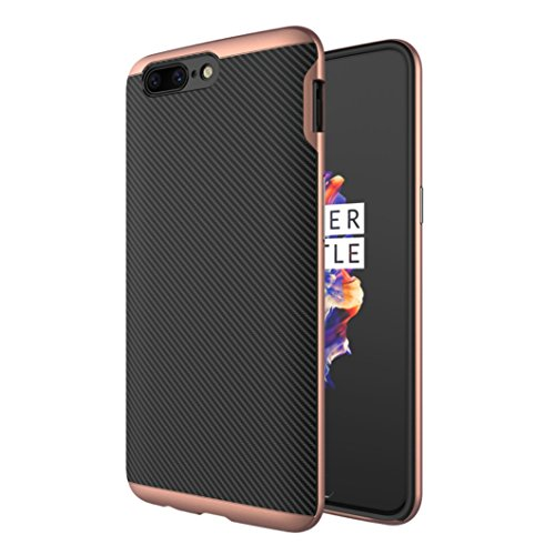 OnePlus 5 Soft Armor Case, Awesome Carbon Fiber Bumper Frame Ultra Hybrid Thin Cover, WEIFA Cool Ultralight Slim Anti-Scratch Phone Case For OnePlus5 RoseGold