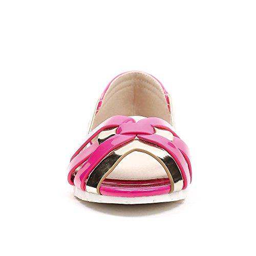 Ideal Shoes - Ballerines semi-ouvertes vernis Solea Fuchsia