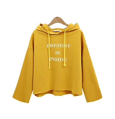 YPtong Felpe con Cappuccio Sweatshirt Maniche Lunghe Top Coat Jacket Eleganti Felpa Corto Magliette Casual Giallo