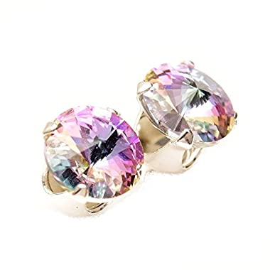 pewterhooter 925 Sterling Silver stud earrings for women made with sparkling Starlight crystal from Swarovski®. London…
