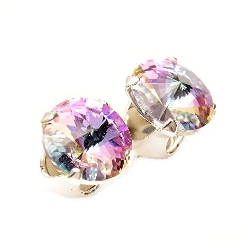 925 Sterling Silver stud earrings for women made with sparkling Starlight crystal from Swarovski®. London jewellery box. Hypoallergenic & Nickle Free Jewellery for Sensitive Ears